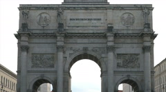 The Siegestor in Munich with traffic cars, real time Stock Footage