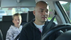 Stock Video Footage of Father and son panic while driving
