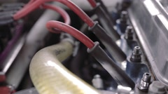 Detail of hoses in engine - stock footage