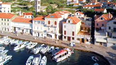 Hvar, Croatia harbour from aerial drone overhead 33 - stock footage