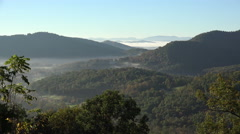 Mountains and trees in the fall from blue ridge parkway road, asheville, nc, Stock Footage