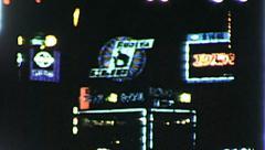GINZA NEON SONY Japan Tokyo Vintage Night Film Retro Film Home Movie 8059 Stock Footage