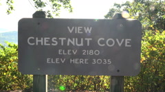 chestnut cove overlook sign on blue ridge parkway road, asheville, nc, usa - stock footage