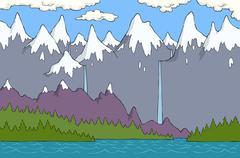 Alpine landscape Stock Illustration