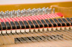 inside baby grand piano - stock photo