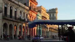 Old Havana Street, Bici/Taxi crosses frame. Stock Footage