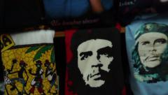 Che Guevara and Cuban T-Shirts for sale Stock Footage
