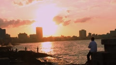 Malecon at Sunset, Havana, Cuba Stock Footage