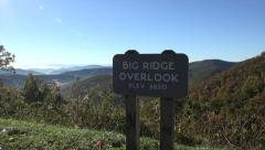 big ridge overlook sign on blue ridge parkway road, asheville, nc, usa - stock footage