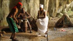 Santeria ritual, playing drums and dancing in cave in Cuba - stock footage
