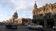 Capitol Building and National Theatre, Old Havana street with 50's cars Stock Footage