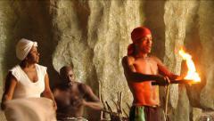 Santeria ritual in cave, drums, fire,dancing, Cuba - stock footage