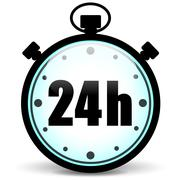 stopwatch 24h icon - stock illustration