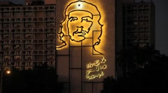Che Guevara sign lighted up ay night in Havana, Cuba Stock Footage
