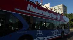 Havana Tours tourism doble decker bus in Plaza de la Revolución Stock Footage