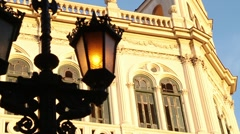 Fancy Street lamp with building in B/G, Havana, Cuba Stock Footage