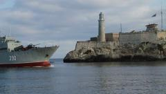 Morro Castle, Havana, ship comes into port of Havana, Cuba Stock Footage