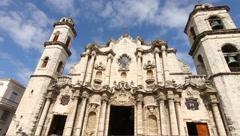 Low angle of Cathedral Nacional, Havana, Cuba Stock Footage