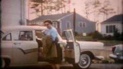 1555 - 1957 Ford Fairlane 500, the family's new car - vintage film home movie Stock Footage