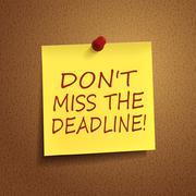 do not miss the deadline words on post-it - stock illustration