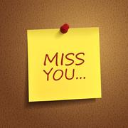 miss you words on post-it - stock illustration