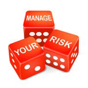 Stock Illustration of manage your risk words on three red dice