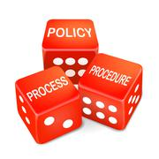 Policy process procedure words on three red dice Stock Illustration
