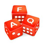 Frequently asked questions words on three red dice Stock Illustration