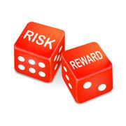 Risk and reward words on two red dice Stock Illustration