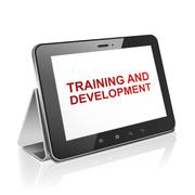 Tablet computer with training and development Stock Illustration