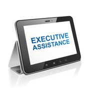 Stock Illustration of tablet computer with text executive assistance on display