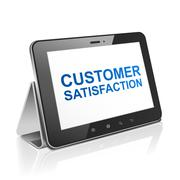 Stock Illustration of tablet computer with text customer satisfaction on display
