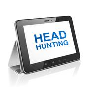 tablet computer with text head hunting on display - stock illustration