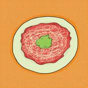 Stock Illustration of spaghetti with avocado