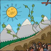 mandan creation myth - stock illustration