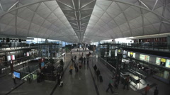 Hong Kong airport, arrival hall Stock Footage