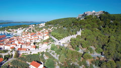 Hvar, Croatia harbour and castle from aerial drone overhead 37 - stock footage