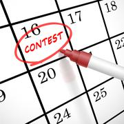 Contest word circle marked on a calendar Stock Illustration