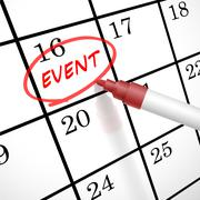 event word circle marked on a calendar - stock illustration