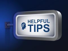 Helpful tips words on billboard Stock Illustration