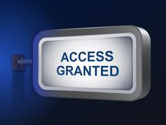 Stock Illustration of access granted words on billboard