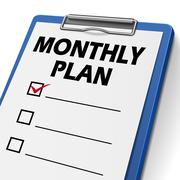 monthly plan clipboard with check boxes - stock illustration