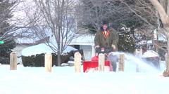 Man Snowblowing The Sidewalk Stock Footage