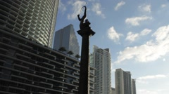 Monument to Seminole Indians in Down Town Miami Stock Footage