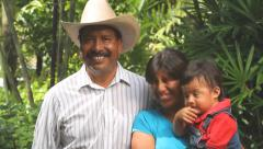 Happy Mexican family smiles to camera Stock Footage