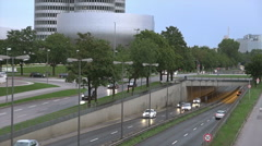 BMW building museum with freeway, REAL TIME Stock Footage