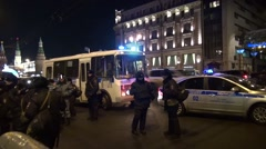 A police bus and a police car near the Kremlin Stock Footage