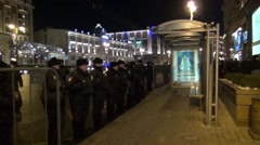 A police cordon near the bus stop in Moscow - stock footage