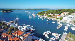 Hvar, Croatia harbour from aerial drone overhead 43 - stock footage