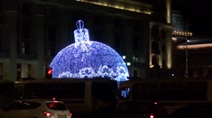 Christmas decoration in Moscow near the venue of the opposition rally Stock Footage